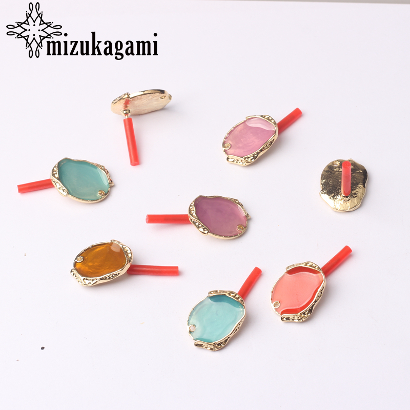 6pcs/lot Golden Zinc Alloy Metal Oval Enamel Earrings Base Connectors For DIY Fashion Drop Earrings Jewelry Accessories