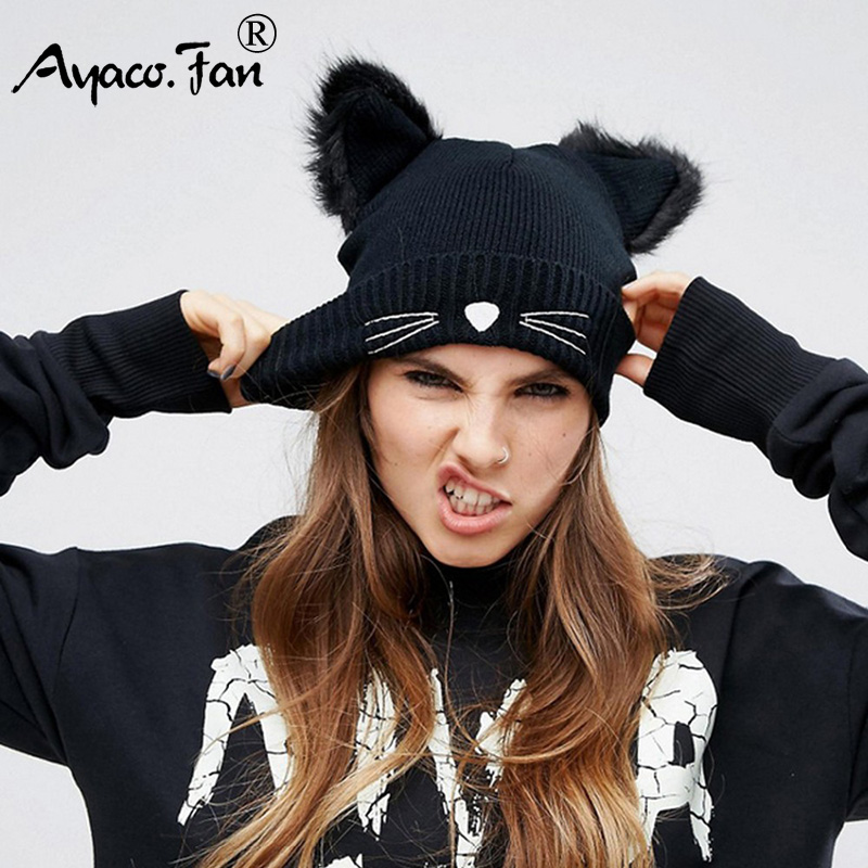 Lovely Cat Ears Women Hat Hat Knitted Acrylic Warm Winter Beanie Caps Crochet Fur 2019 New Lady Girls Female Cute Casual Beanies