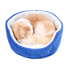 Pet Dog Bed Puppy Beds Soft Round Shape Nest sleeping Plush Warm Cat House Kennel Mat Products 4 Colors