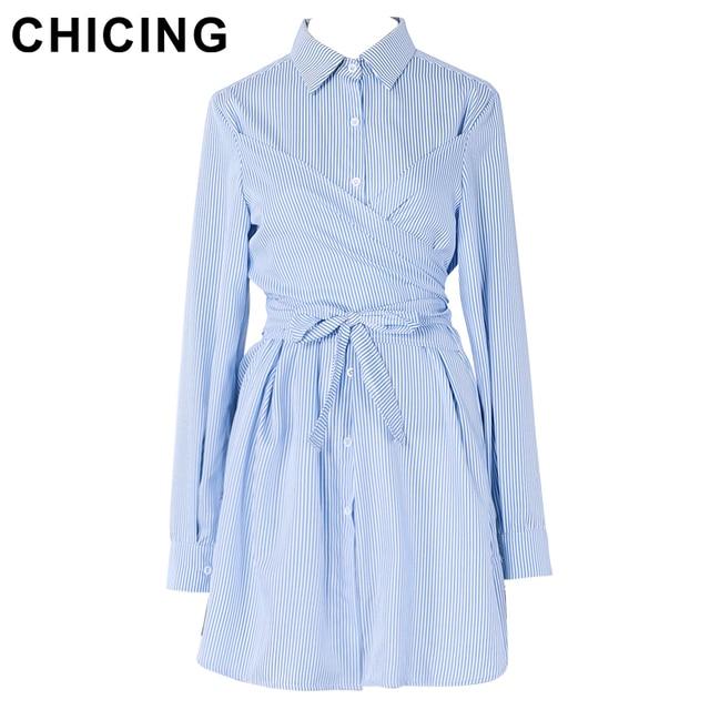 CHICING Женщины Причинно Пояса Полосатый Рубашка Dress 2017 Новая Мода Весна-Лето Кружева Высокая Талия Платья Vestidos A1701001