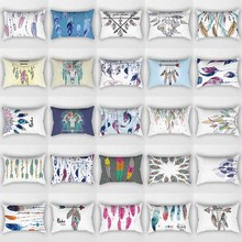 Hot sale beauty feathers pattern pillow cases  rectangle bedroom pillow cases boys girls men women travel pillow cover 50*30cm hot sale beauty feathers pattern pillow cases rectangle bedroom pillow cases boys girls men women travel pillow cover 50 30cm