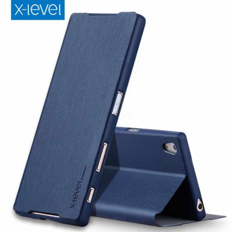 Z5 X-Level Luxury Business PU Leather Phone Case For Sony Z5 Premium Ultra thin Flip Stand Cover For Sony Z5 Premium Z5 Premium