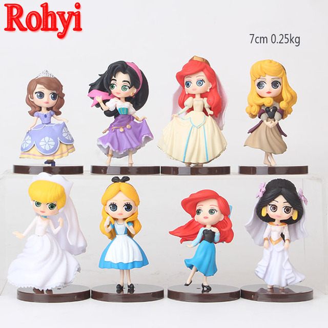 US $16 99  Rohyi 8pcs/lot Q Posket Characters Princess Aurora Cinderella  Jasmine Sofia Ariel Alice Esmeralda PVC Figures Toys Dolls-in Action & Toy