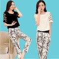 Europa set 2015 mujer verano nueva hollow mangas pantalones de ocio femenino de impresión de tinta