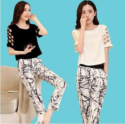 Europe set 2015 female summer new hollow sleeves pants female leisure suit printing ink