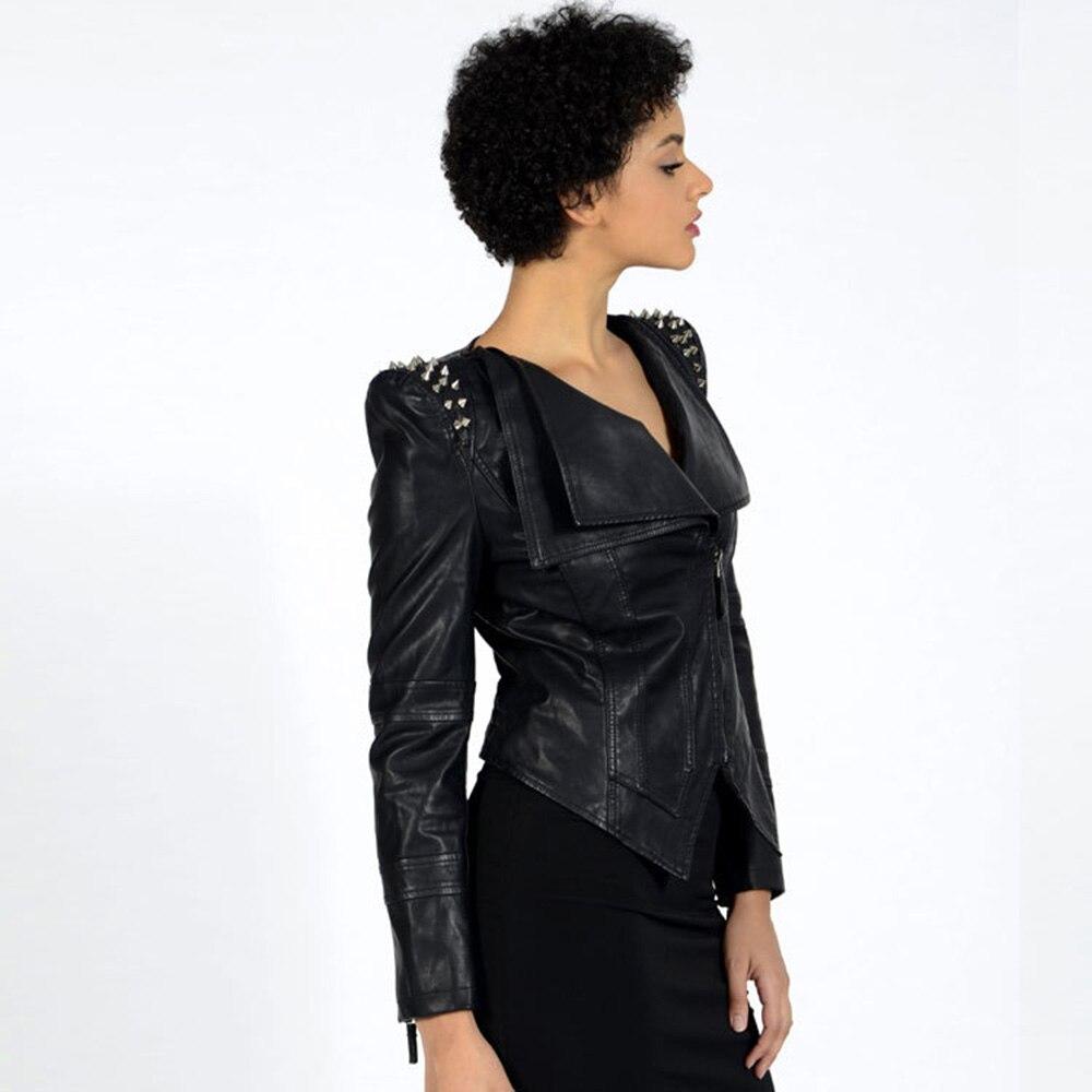 Black Rue Cuir Nouvelle Femmes Moto Plus Pu Punk Rock Maigres Frais Veste Noir Automne Style En Manteau Zipper Rivet Slim Taille IwIqvxRTSX
