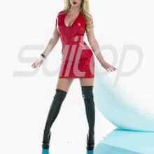 Erotic dress woman latex back zip