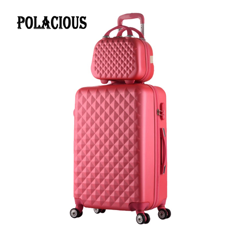 2017New Hot sales Diamond lines Trolley suitcase set travell case font b luggage b font Pull