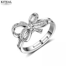 KITEAL 925 Trendy silver color resizeable womens ring Mosaic CZ Zircon Bowknot Resizable Rings femme jewellery S-R223