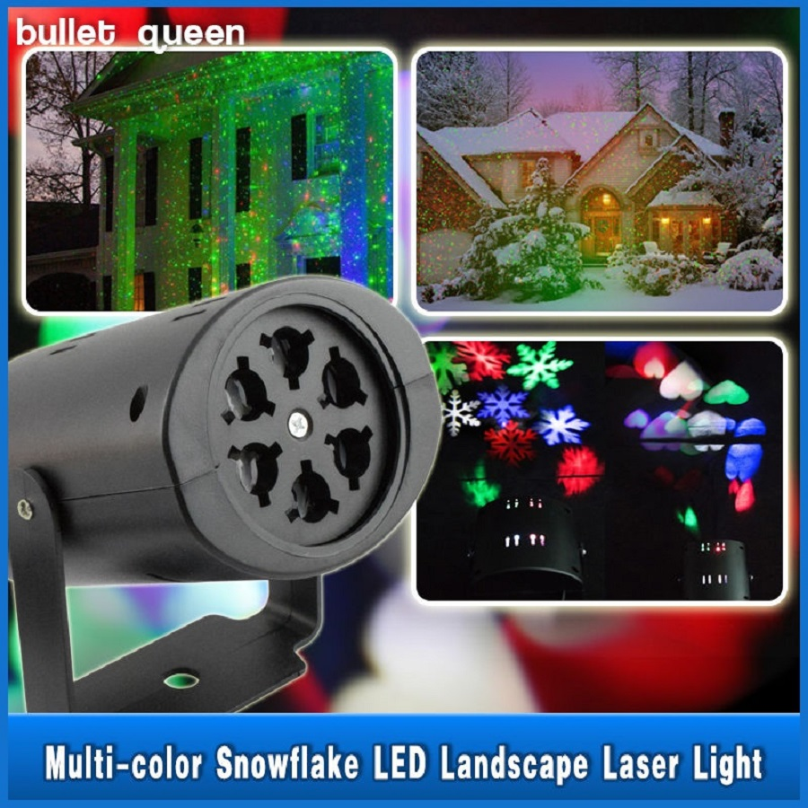 LED Love Snowflakes Pattern Landscape Laser Projector Wall Lamp Xmas Light
