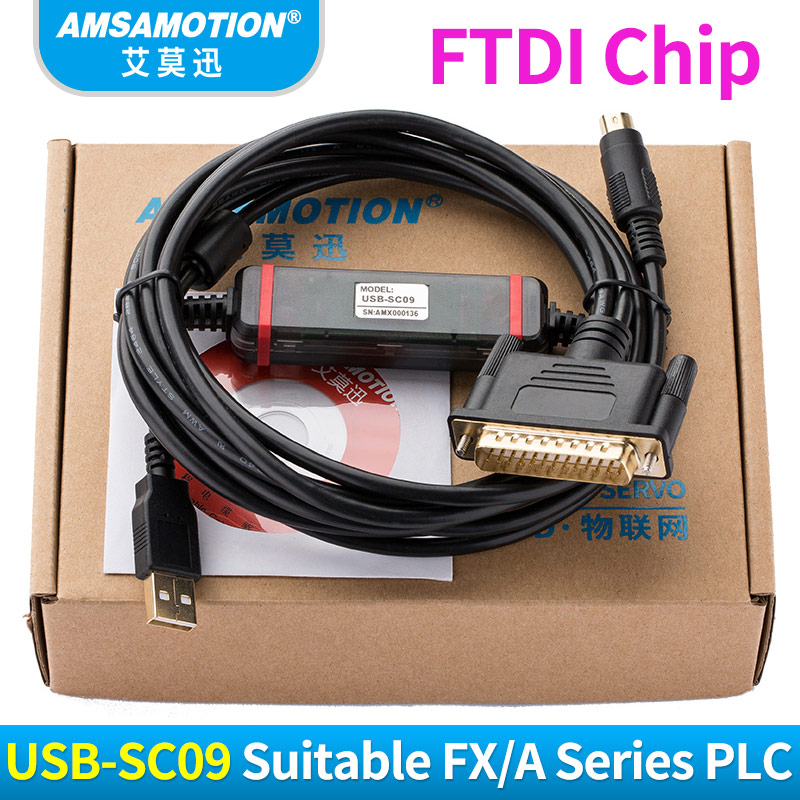 USB-SC09 Suitable Mitsubishi FX/A Series FTDI Type PLC Programming Cable usb ge ge90 usb programming cable series ge90 series plc programming cable