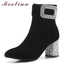 купить Meotina Women Boots Winter Ankle Boots Rhinestone Chunky High Heels Short Boots Zip Square Toe Shoes Ladies Fall Big Size 33-43 по цене 1789.15 рублей