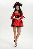 Frete Grátis Caribbean Pirate Swashbuckler Red Ladies Bucaneer Traje Halloween Plus Size S-3XL Com Chapéu do Vestido Extravagante