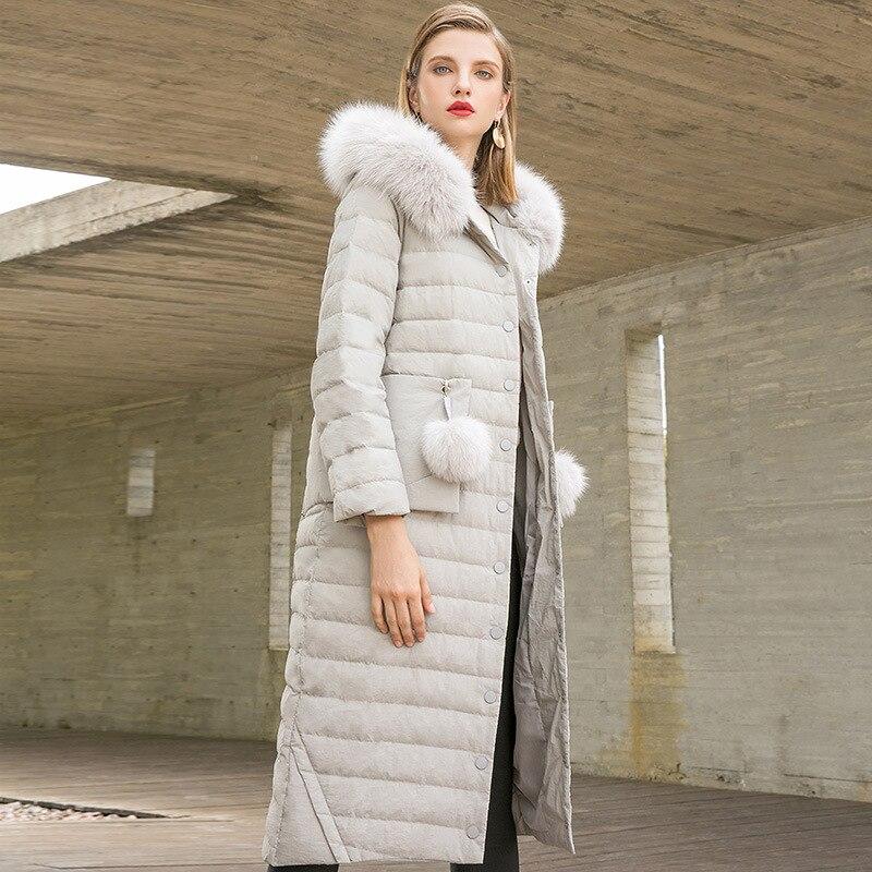 Unique Poitrine En Grand X Fourrure Femmes Manteaux Épais Capuchon À Nouvelles Renard long Canard Blanc Droite Mince Duvet Col 2018 De D'hiver qw1rYWcg1