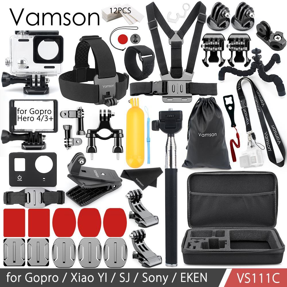 Vamson pour Gopro accessoires set pour Gopro Hero 4/3 + Action caméra sangle de cou boîtier étanche/cadre Standard VS111