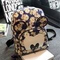 Otoño e invierno estilo preppy bolso de escuela del estudiante mochila de lona de las mujeres ocasionales mikey ratón de dibujos animados floral bolsa de libros de impresión