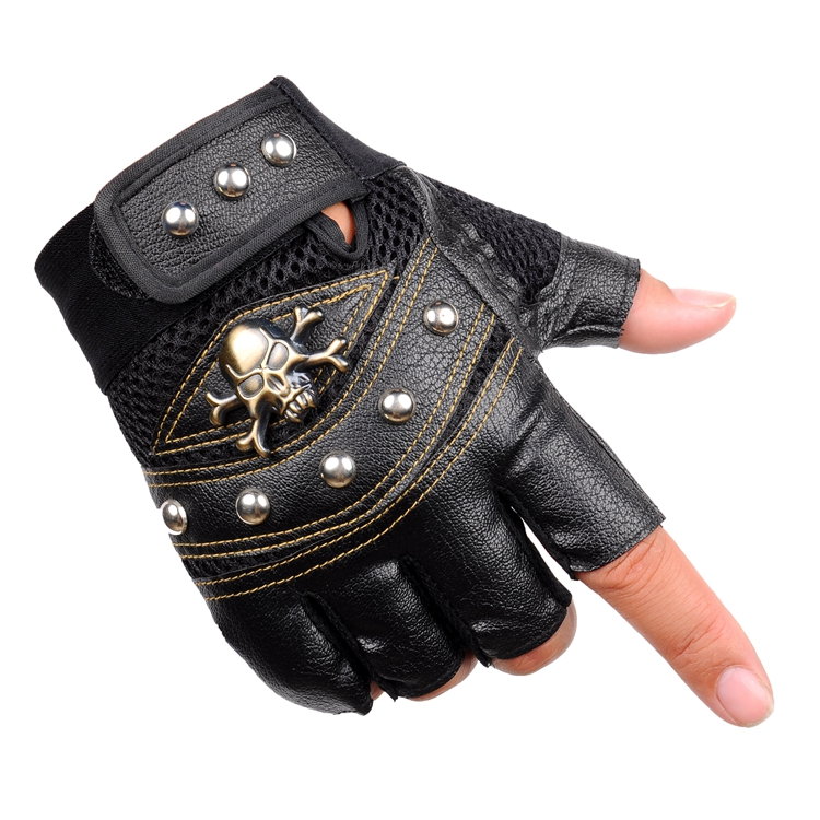 Seckill PU leather half gloves riding sports outdoor fitness gloves fingerless gloves anti-skid breathable sunscreen riding seasons half gloves shipping men han antiskid fitness outdoor hip hop wolf mountain