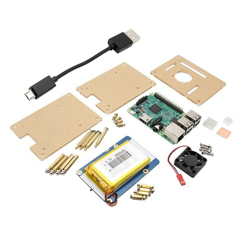 Module For Raspberry Pi 3 Model B + Lithium Battery Expansion Board + Double layer Acrylic Box (V35) + Pi fan Kit for Raspberry ds3231n raspberry pi rtc board real time clock module for arduino red