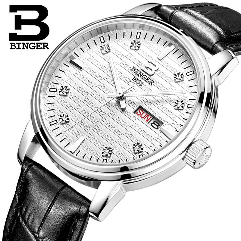 Switzerland men's watch luxury brand Wristwatches BINGER ultrathin Quartz clock leather strap glowwatch Men watches B3036-2 wristwatches luxury brand men quartz gold watch sapphire leather strap watches men 12 month guarantee bg0389