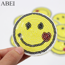 10pcs lot Smile Face Patch Iron On Appliqued Embroidery Motif Badge Diy  Stickers for clothes 2ec426a63f59