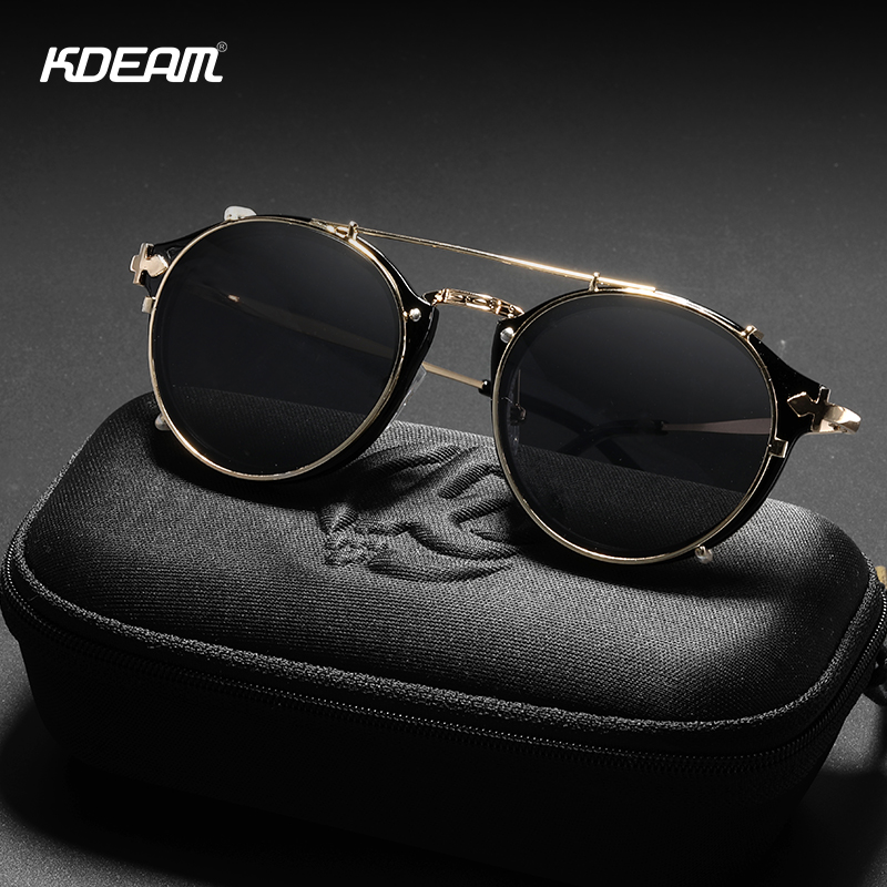 KDEAM Retro Steampunk Round Clip On Sunglasses Men Women Double Layer Removable Lens Baroque Carved Legs Glasses UV400 With Box in Men 39 s Sunglasses from Apparel Accessories