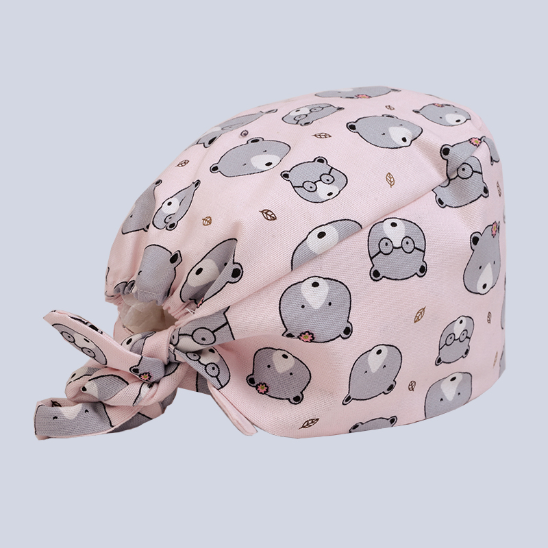 Hospital Dental Clinic Pediatrician Pure Cotton Medical Cap Surgical Cap Pink Little Bear Printing Medical Accessories