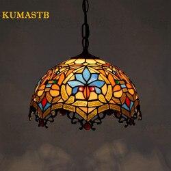 16 Cal lampa witrażowa europejska Vintage jadalnia światło do pokoju Art szkło wisząca lampa Bar lampa suspension oświetlenie domu