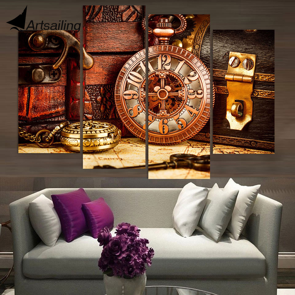 Canvas Painting 4 Piece Canvas Art Vintage Watch Box Key ...