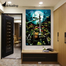 цена на 1 piece canvas painting TMNT warriors home decor movie posters and prints canvas painting for living room XA1879D
