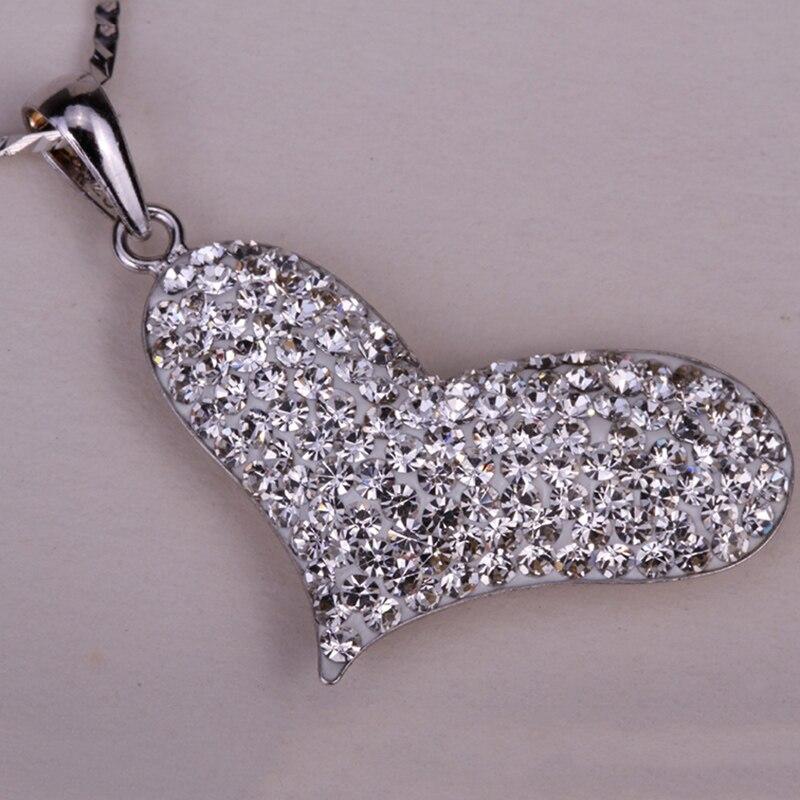 925 coração de prata esterlina colar de pingente W cadeia de cristal  austríaco de moda jóias presentes do dia dos namorados para as mulheres HN02 8893e6e7bb