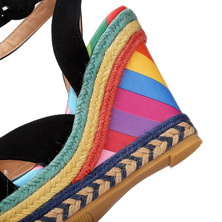 Hot Mélangées Noir D'été Plate Sandal Dames Mujer Rose Coins Couleurs forme Suede Gladiateur Chaussures Sandalias 2018 Femmes Sandales ArwAp