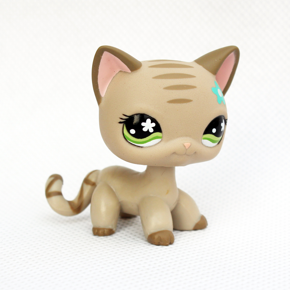 real original pet shop toys standing #483 old rare short hair cat light grey kitty with blue flowers lps pet shop short hair kitty and dog collection classic animal pet cat free shipping toys action figures kids toys gift