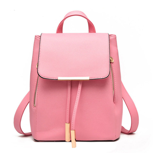 2018 korean style women backpacks fashion student school bags teenagers pu learher mochila young Korean style fashion girl bag