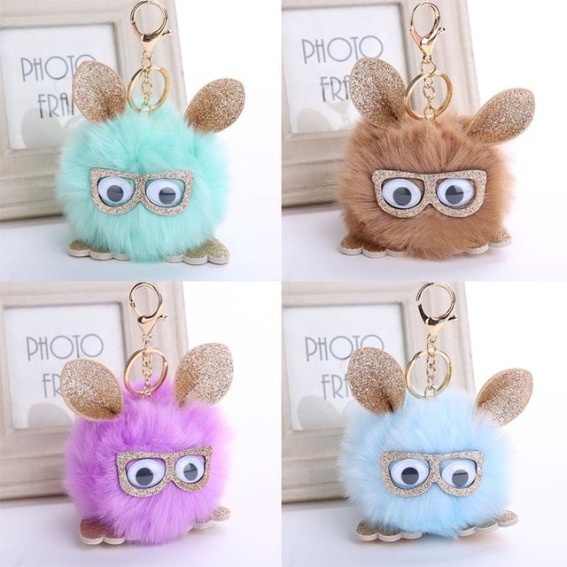 1 Pcs Coruja Bonito Faux Rabbit Fur Bola Chaveiro Para As Mulheres Pompom fofo Animal Pingente de Chave Anéis Saco Chave Titular Ornamentos Presentes