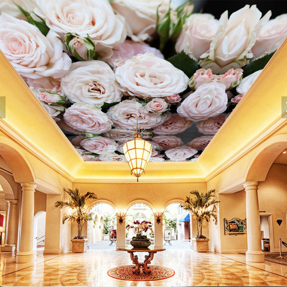 Rose Flower Ceiling Mural 3d Ceilings Mural Wallpaper for Walls Living room Hall 3d Ceiling Murals 3d Flower Wall paper Sticker flower bridge river pattern 3d wall art sticker
