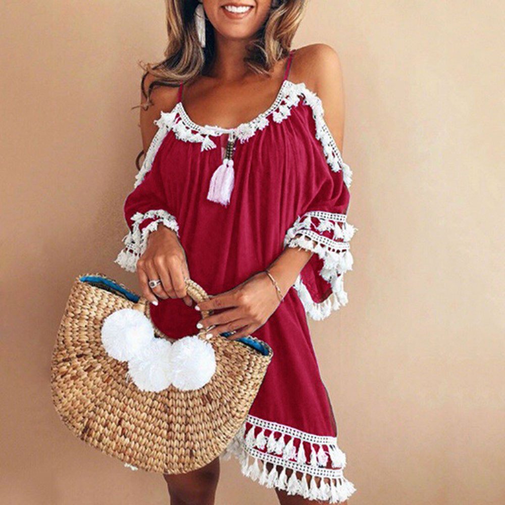 Hot sale Sundress strand jurkjes beach summer outing in summer Off Shoulder Dress Tassel Short Cocktail Party Beach Dresses