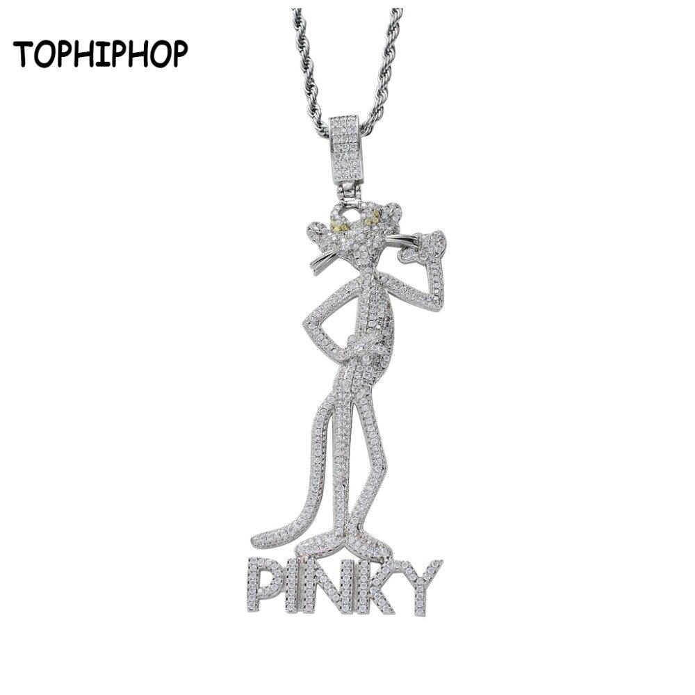 2019 nouvelles conceptions mignon glacé Zircon PINKY léopard pendentif Micro Pave CZ pierre charme collier hommes Hip Hop bijoux Homme