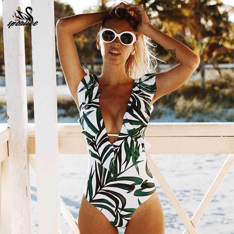 2019 Sexy One Piece Swimsuit Push Up Swimwear Women Ruffle Monokini Adjustable Shoulder Swimsuit Bodysuit Bathing Suit Swim Wear