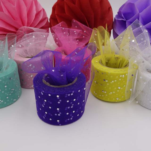 placeholder 5cm 25Yards Glitter Sequin Tulle Organza Ribbon Roll Giftbox  Wrap DIY Clip Doll Tutu Skirt Poms 8d6d527b7206