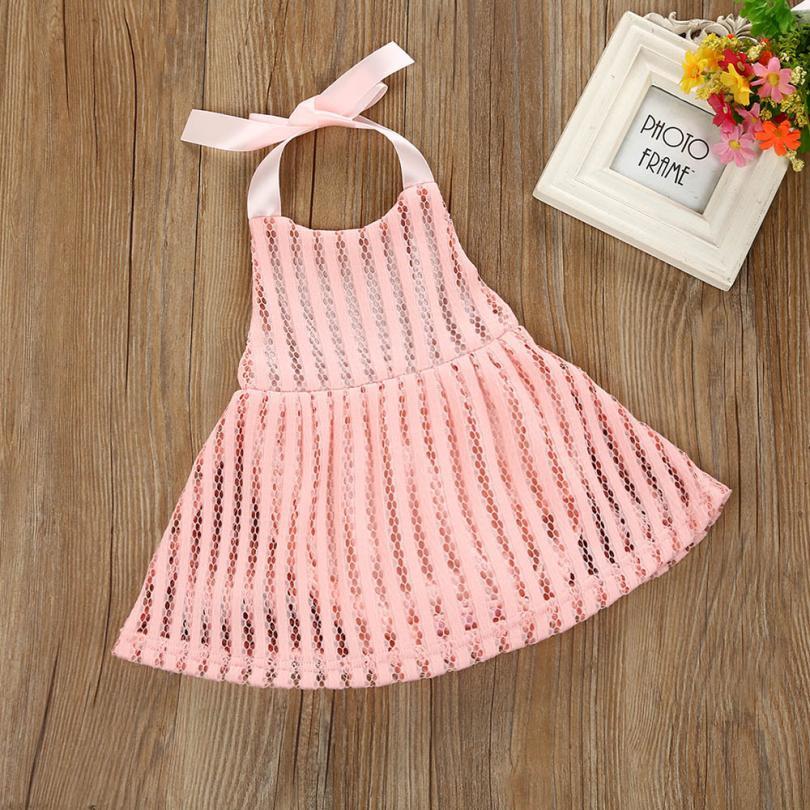 pink color summer Dresses Toddler Infant Baby Girl Strap Hole Lace Backless elegant dress for girl Princess Dress Outfits