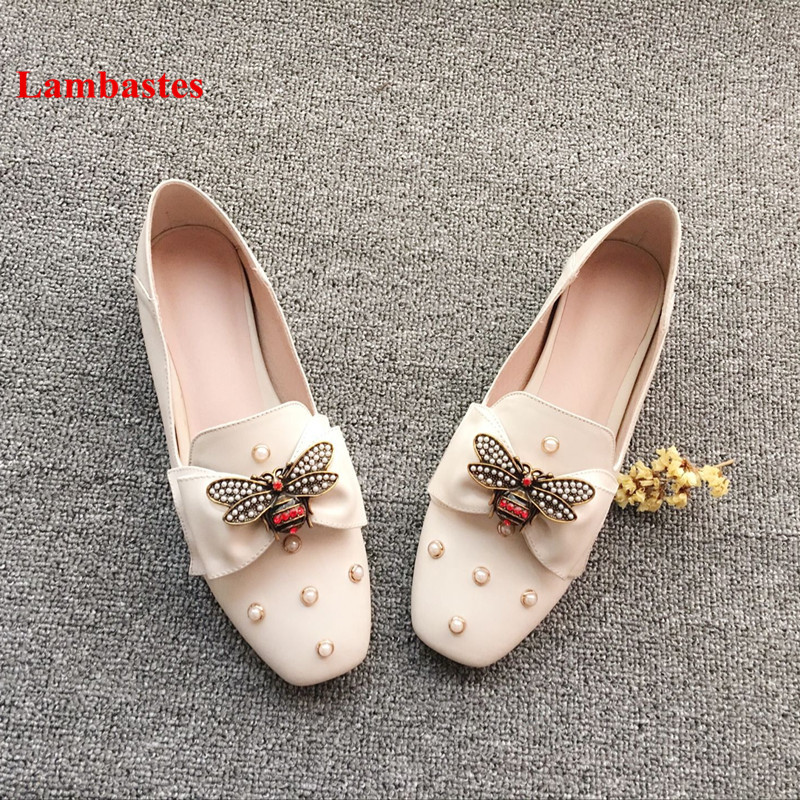 Loafers Women 2018 New Arrive Metal Animal Designer Butterfly-knot Slip On Women Flats Pearl Leather Casual Mules Zapatos Mujer все цены