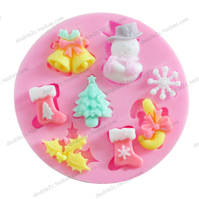 bells socks christmas tree shape silicone molds for fondant cake decorations8pc - Christmas Cake Decorations