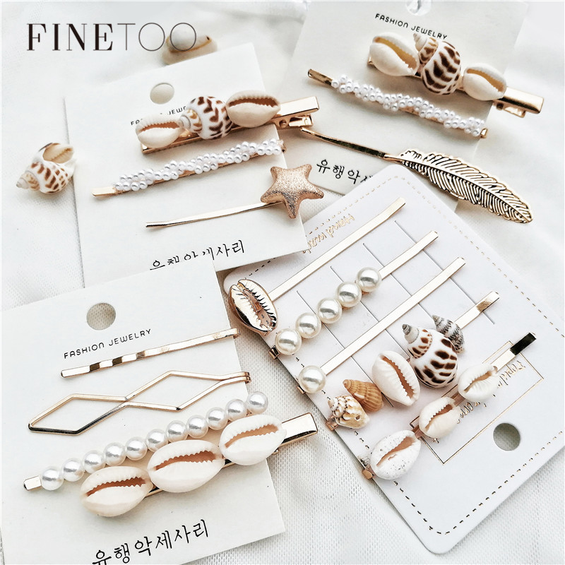 Fashion Conch Cowrie Shell Hair Pins Pearl Barrette Hair Clips for Women Girls Sea Shell Hair Accessories for Wedding