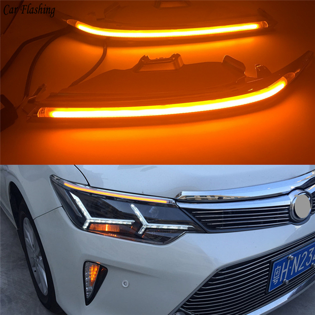 Car Flashing 2pcs 12v Led Headlight Eyebrow For Toyota Camry 2017 2016 2018 With Turn Signal Drl Daytime Running Light