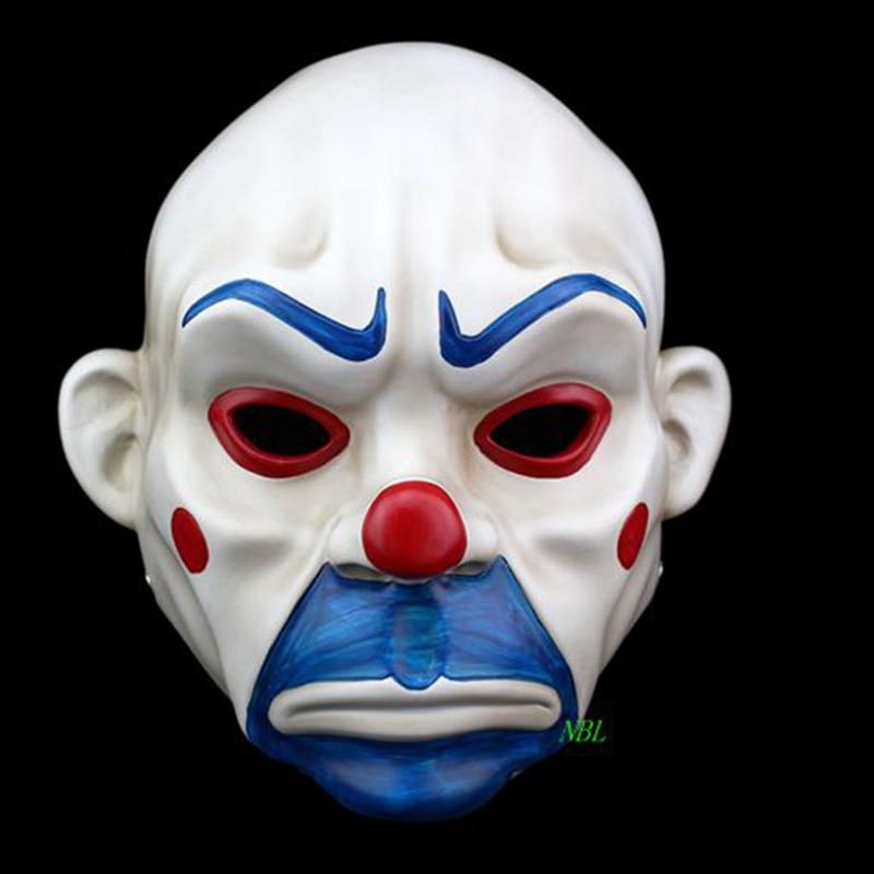 Adult Batman Joker Clown Bank Robber Mask Dark Knight Costume Halloween Masquerade Party Fancy Resin Masks FreeShipping