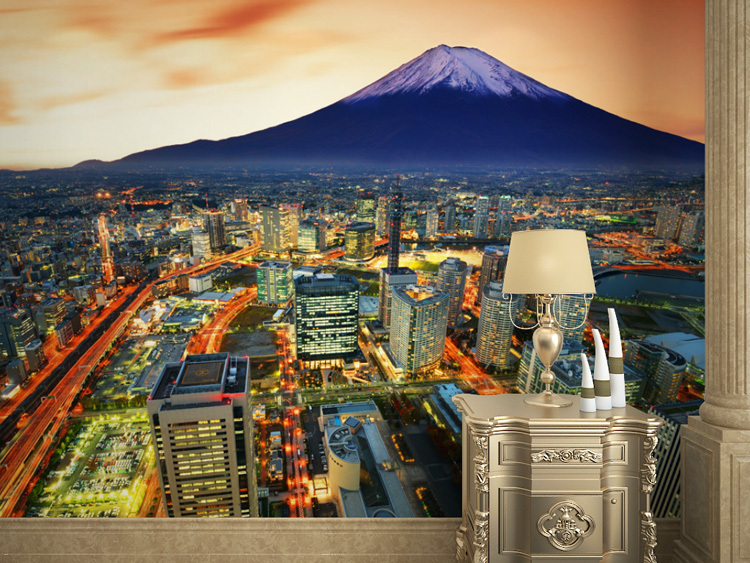 Japan Fuji mountain night in Tokyo large living room bedroom theme hotel mural 3D wallpaper personalized custom 3D wallpaper custom baby wallpaper snow white and the seven dwarfs bedroom for the children s room mural backdrop stereoscopic 3d