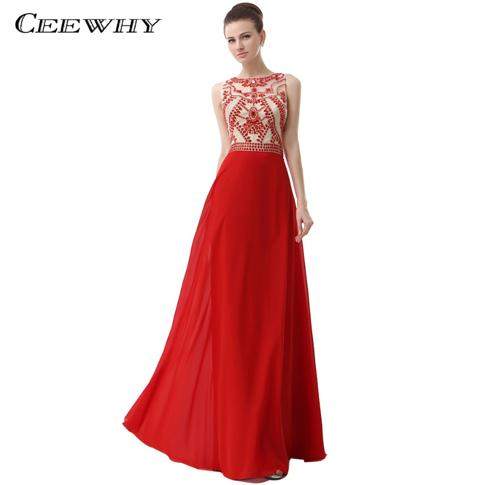 CEEWHY Off the Shoulder Red Evening Dress Crystal Beaded Prom Dress ...