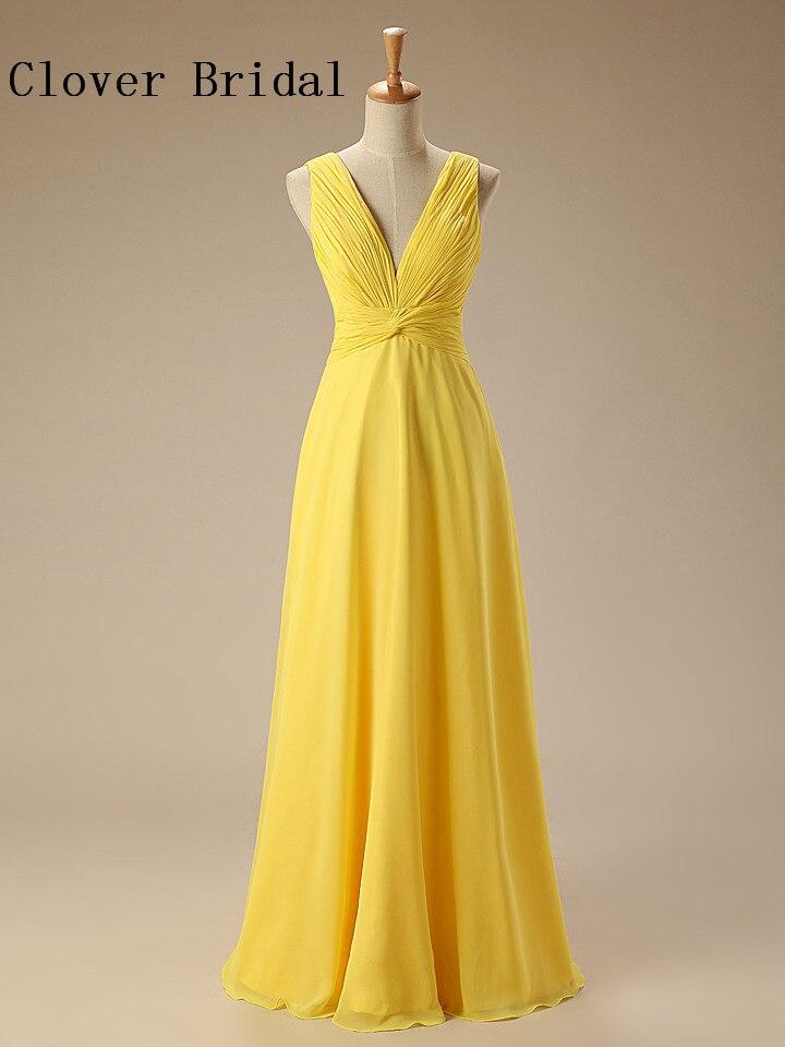 Yellow Bridesmaid Dresses Long Chiffon Ruffle Wedding Guest Gown Robe De Demoiselles D Honneur