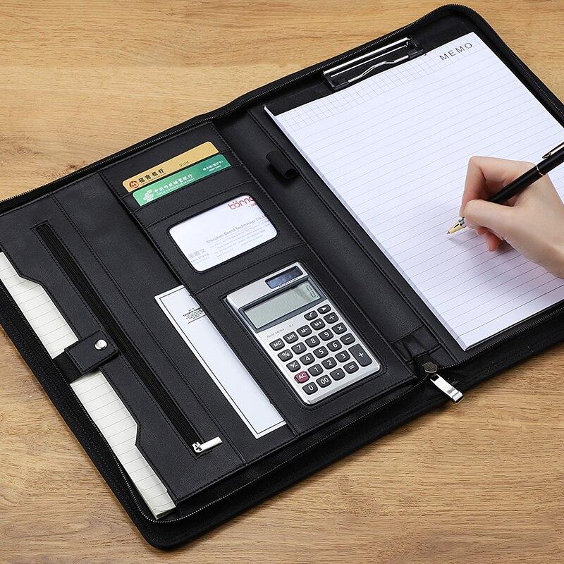 A4 dossier de dossier affaires Padfolio dossier de présentation portefeuille sac de gestionnaire de Documents pour A4 Documents avec fermeture à glissière fournitures de bureau