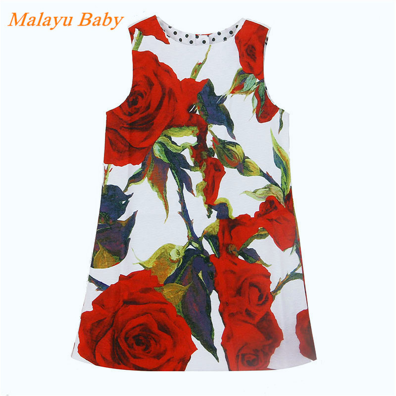 Malayu Baby 2016 European and American style baby girl dress red rose fashion dress brand clothing girls 3-8 years 100% real photo brand kids red heart sleeve dress american and european style hollow girls clothes baby girl clothes